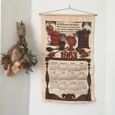 Vintage 1963 Cloth Wall Calendar Great 0