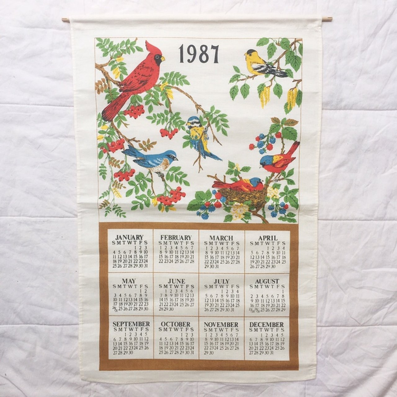 1987 True Vintage Wallhanging Calendar Linen Cotton Blue Jay Depop