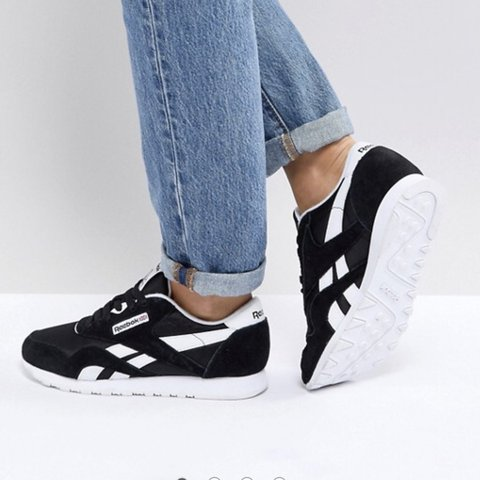e346a69fb5f Selling Reebok Classic Nylon trainers black and white size 5 - Depop