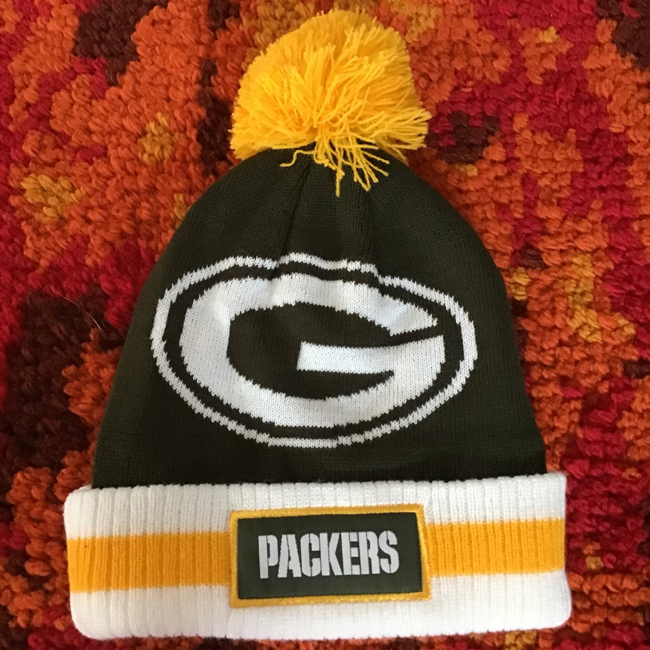 Green   yellow greenbay packers football toque with little   - Depop 04210e4ad484