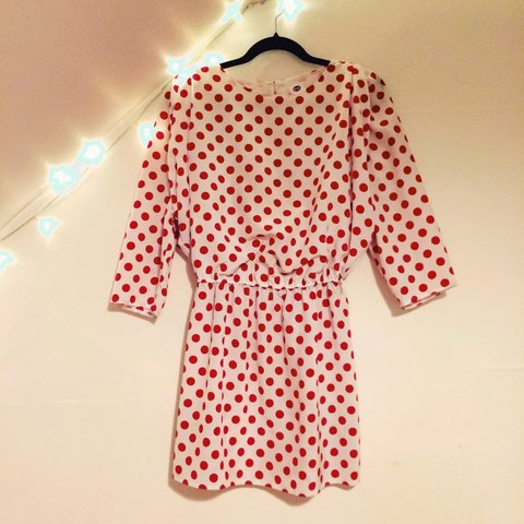 684540fbfb7 Vintage 80s pink and white polka dot dress. Amazing slightly - Depop