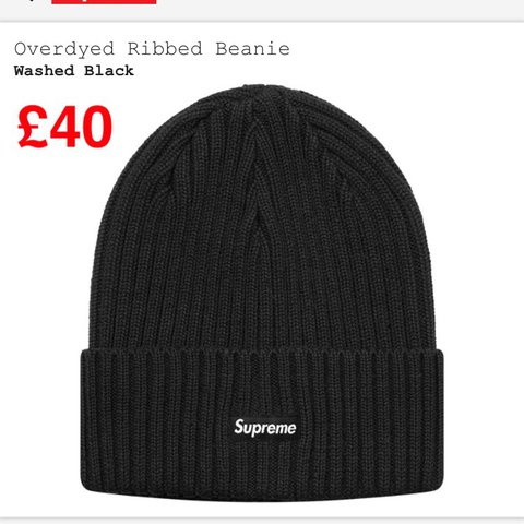 187c862c6804b Supreme overdyed ribbed beanie Washed black PRICE DROP - Depop
