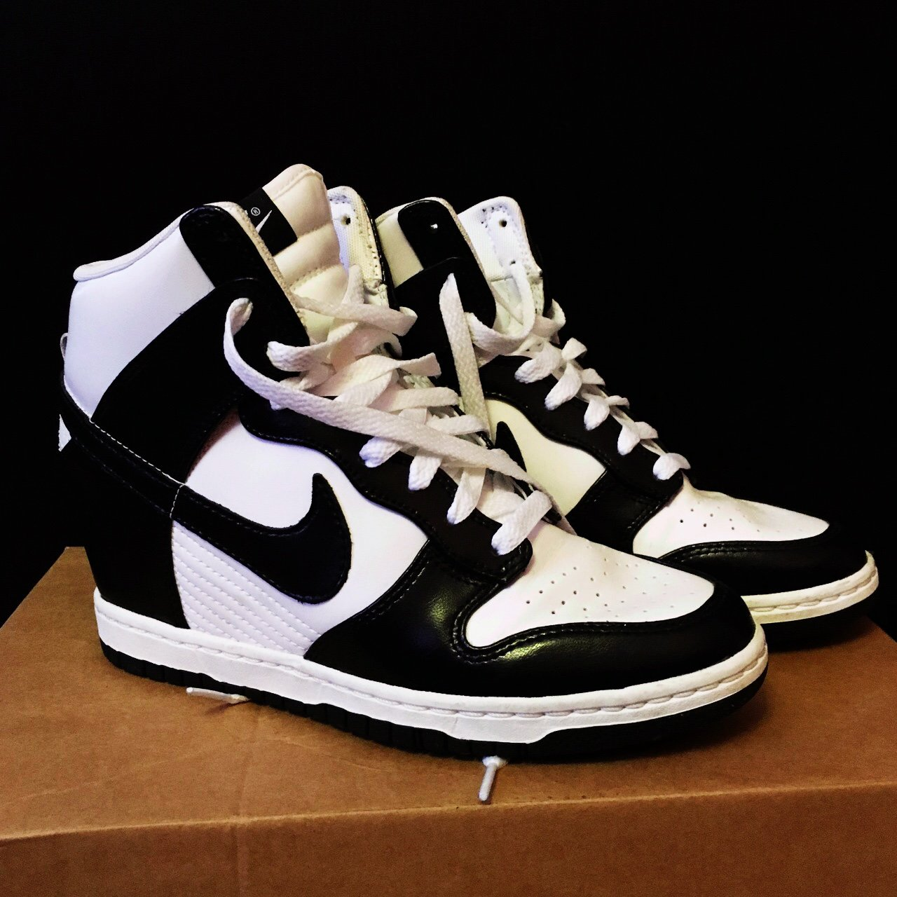NIKE DUNK SKY HI WEDGE TRAINERS. BLACK AND WHITE LEATHER. UK - Depop 93ce6fac0