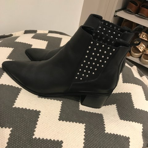 2b7fc05f2c44 Black Studded Office Boots! Bought last year