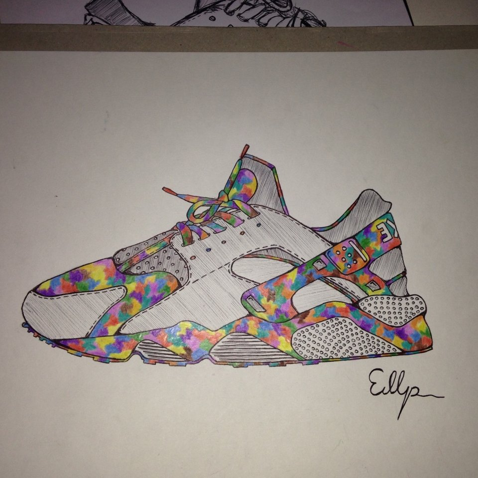 nike huarache drawing