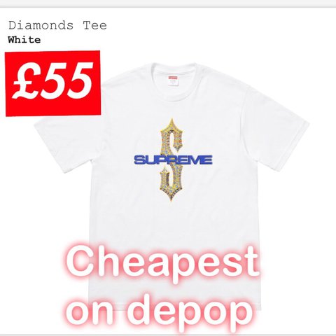 0799a92d860 Supreme Diamond tee CHEAPEST ON DEPOP DEADSTOCK White out in - Depop