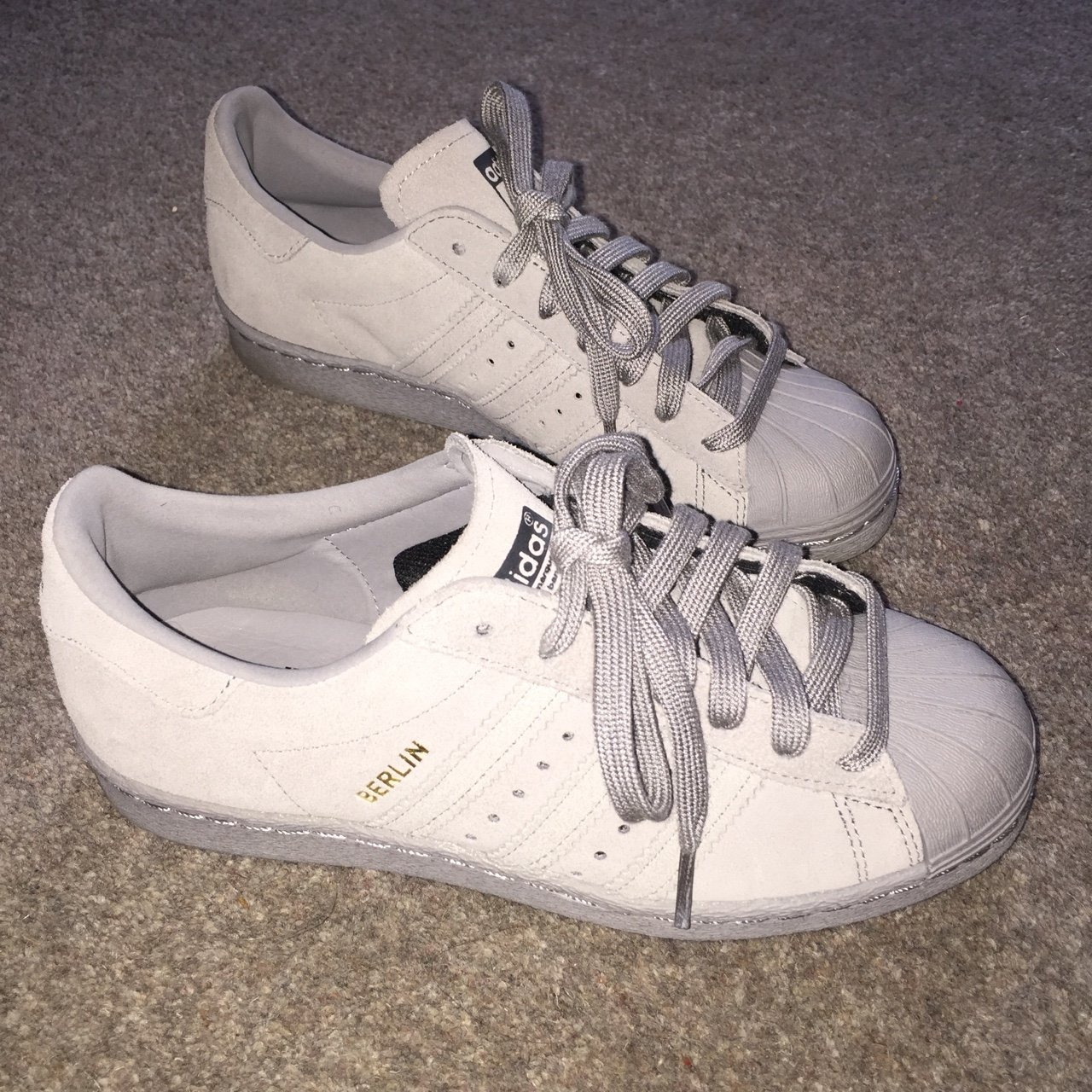 buy online 2bd53 42dbd Adidas Superstar Berlin, suede grey. Purchased from brand No - Depop