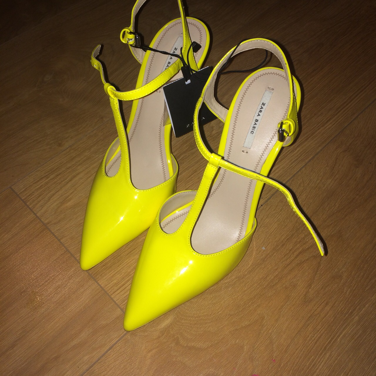 f2e62408709 Yellow illuminous bright neon court heels from Zara.... - Depop