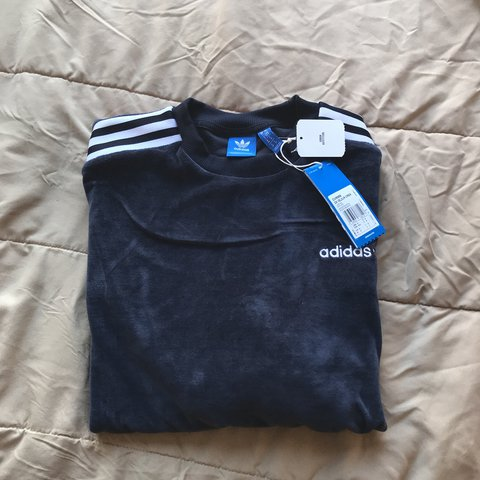 e3cadfc59d4b PRICE REDUCTION!! Navy blue velour adidas sweatshirt! from - Depop