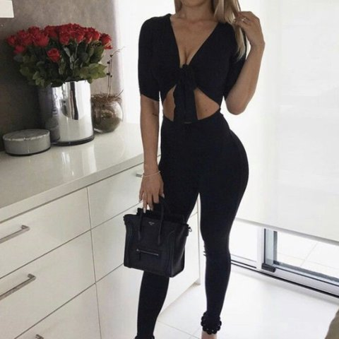 c38e975b3053 (Picture not mine) Black oh polly jumpsuit size 8 - never - Depop