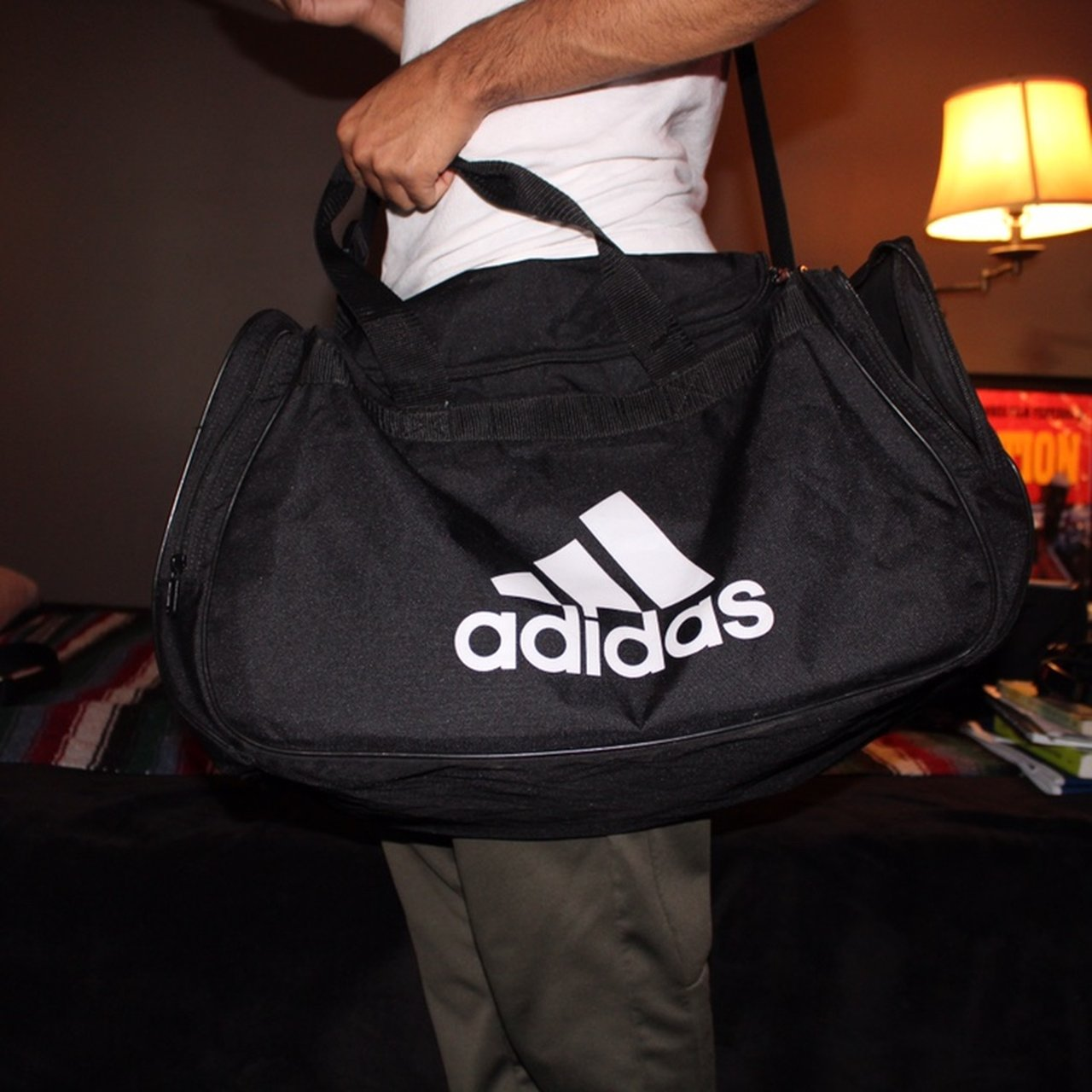 4d185f0d5545 Large Adidas Gym bag in black. Great Condition. Has two and - Depop