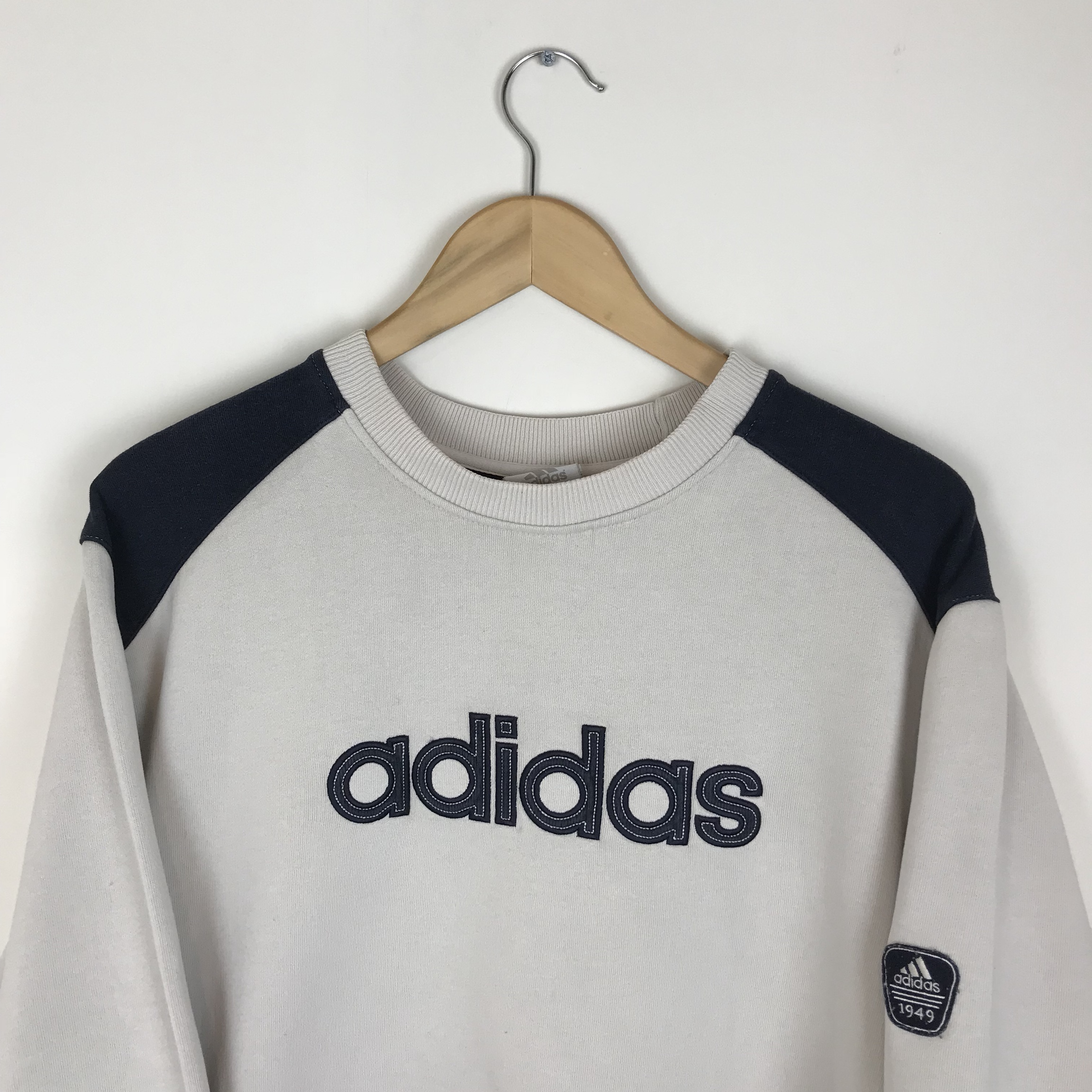 Vintage Adidas Off White and Navy Spellout Crew Neck