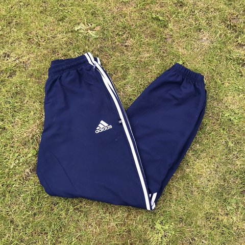 5b21d38e4c9e Vintage Adidas Blue and White Tracksuit Bottoms   Joggers in - Depop