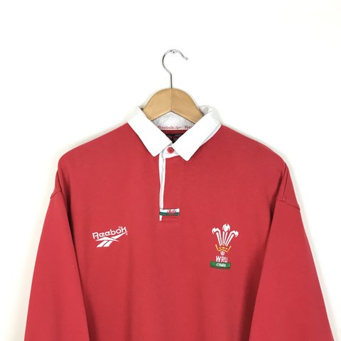 68fc9a08c581 Vintage 90 s Reebok Red and White Wales Rugby Shirt 🏉 - - Depop