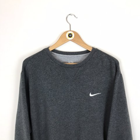 Vintage Nike Dark Grey and White Crew Neck Sweatshirt Jumper - Depop e2224b7fc