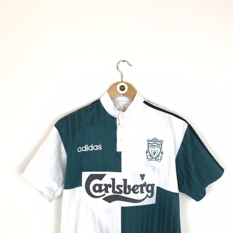 42d13975187 Vintage Adidas Liverpool FC 1995 96 Away Short Sleeve Shirt - Depop