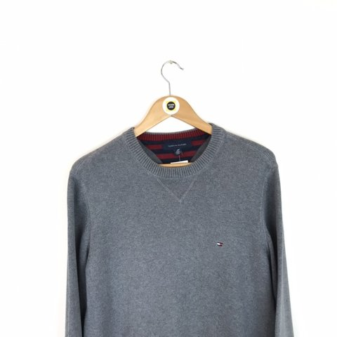 b6d56e6067 Vintage 90 s Tommy Hilfiger Grey Ribbed Knitted Sweatshirt a - Depop