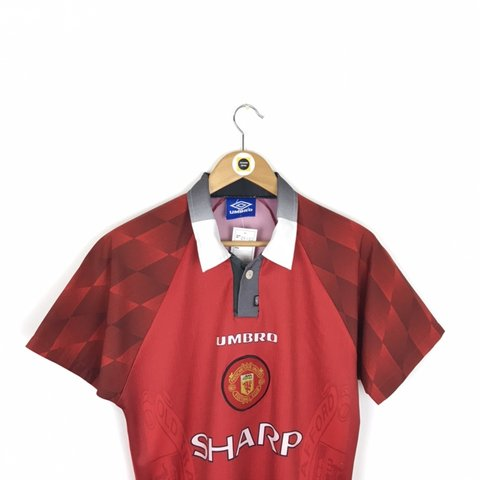 3ee7067c3c Vintage Umbro Manchester United Red and White 1996/98 Home - Depop