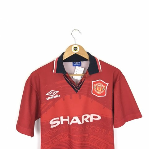 355cb5816 Vintage Umbro Manchester United Red and White 1994 96 Home - Depop