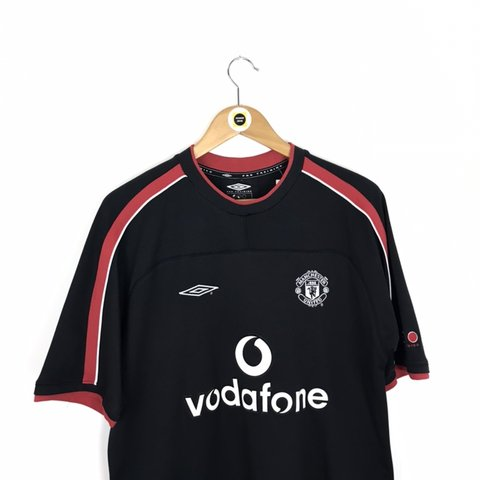 057c177ded Vintage Umbro Manchester United Black, Red and White Short T - Depop