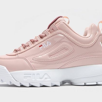 Baby pink fila disruptor shoes, size 5