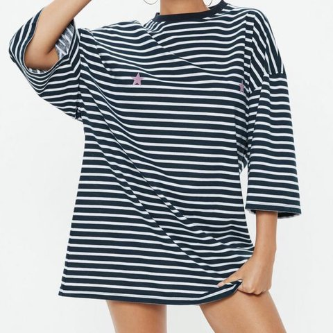 0b2d75fd6759c Sold out!!! Navy stripe oversize dress only worn once In t - Depop