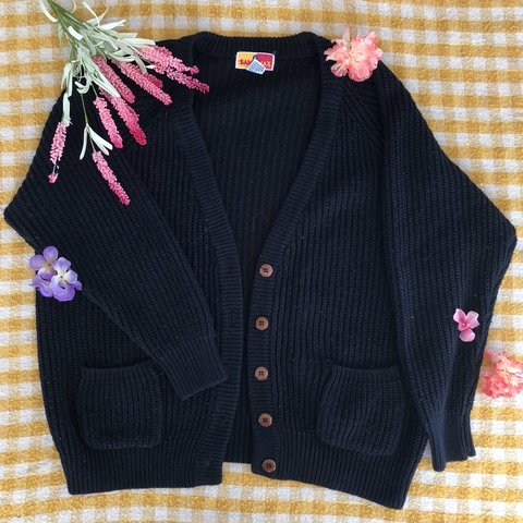 🍯 Vintage Black Knit Cardigan 🍯 ♡ 🥨☁ FREE SHIPPING in a - Depop c14570e60