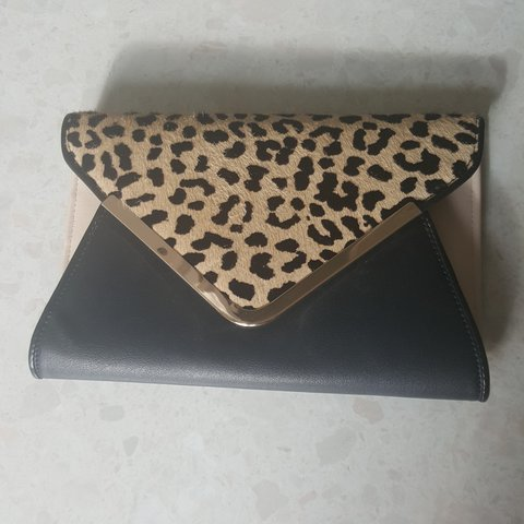 082d32ffff9 Aldo clutch bag with black and cream faux leather and print - Depop