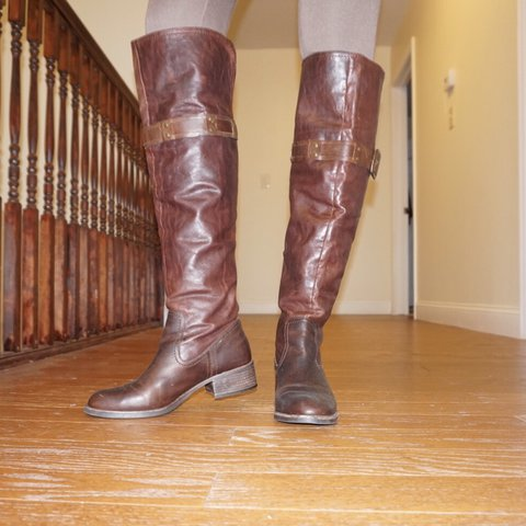 da4d3ef3f Jessica Simpson over the knee brown leather boots. Used but - Depop