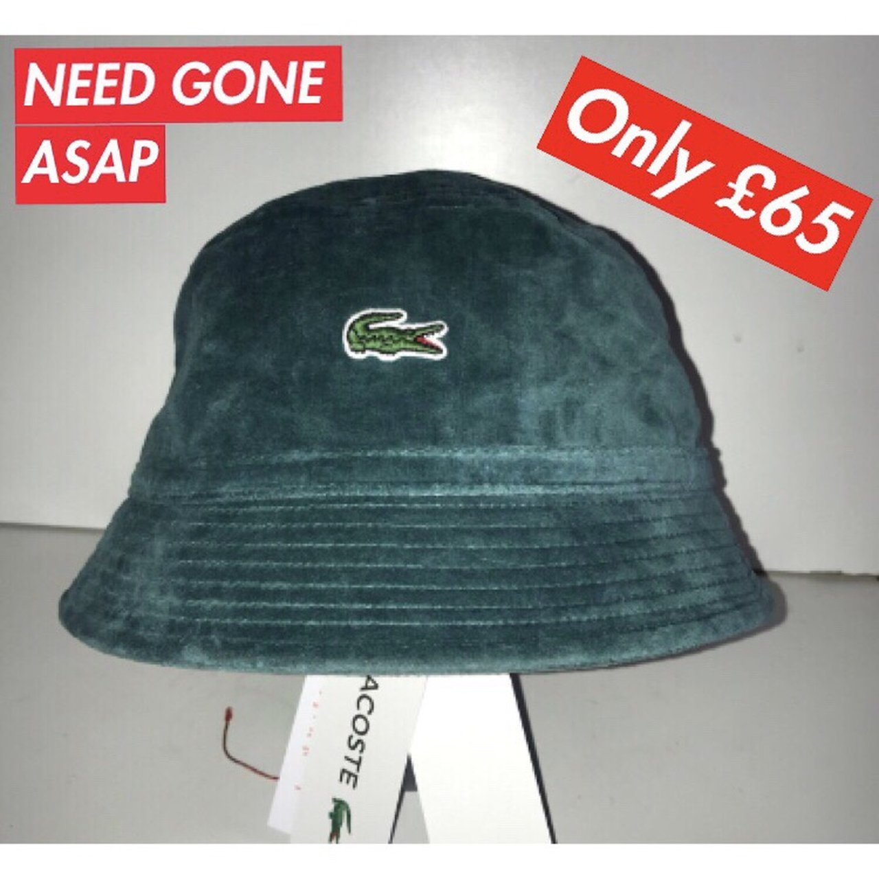 Green Lacoste X Supreme Bucket Hat Size M-L Perfect for I - Depop 8213eecff61