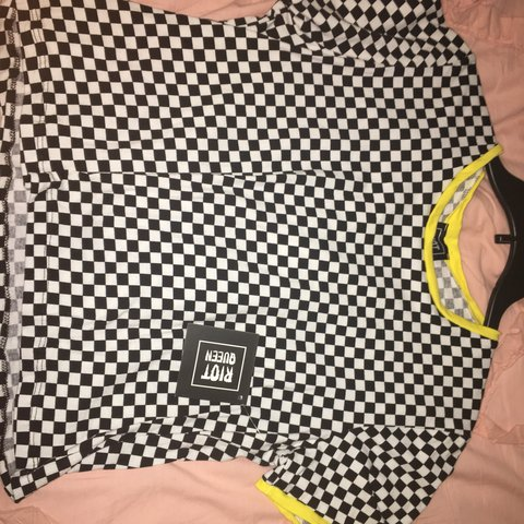 2818165909 Riot queen checkered T-shirt Label reads XL but I m a and - Depop