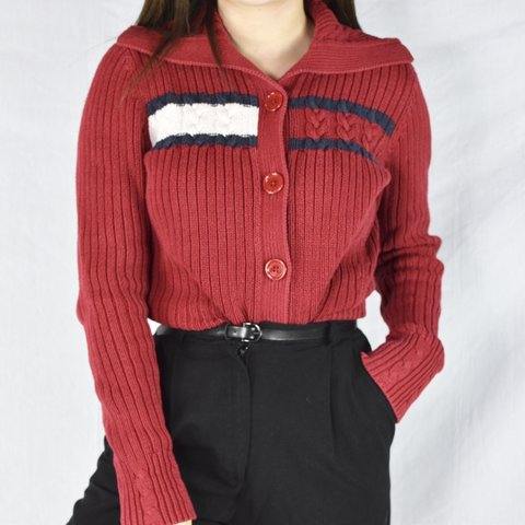 64c02c2054a29 Price reduced ‼ Vintage Tommy Hilfiger button-up sweater a - Depop