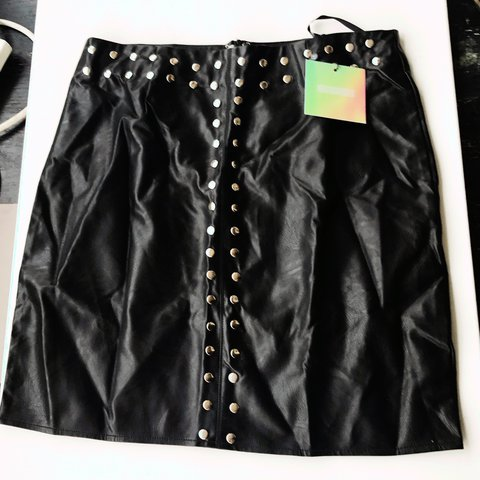fde74c1de3 @lauraannp. 2 years ago. Wallasey, United Kingdom. Black studded faux  leather short skirt, size 12 from missguided, never been worn.