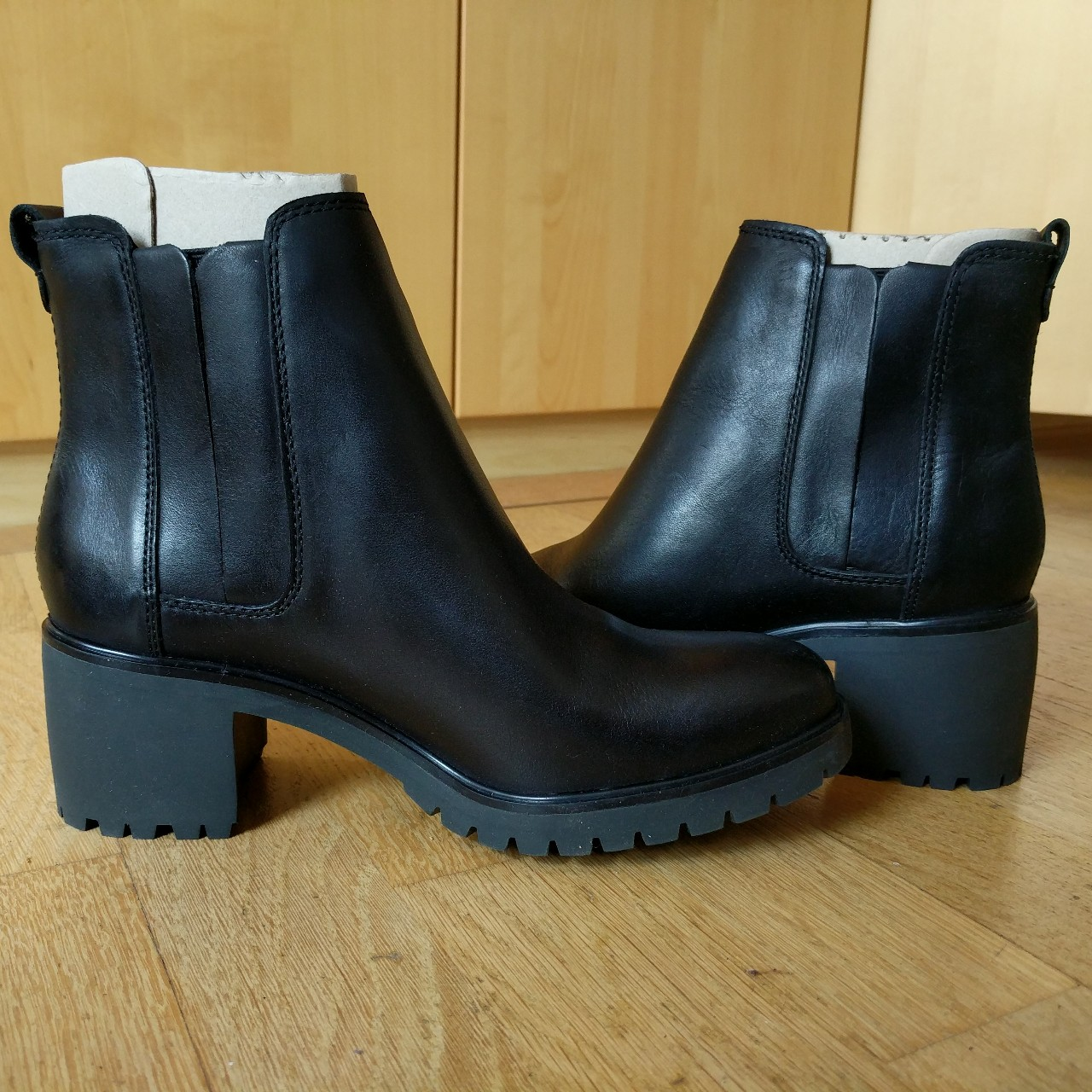 Black heeled Timberland boots, never worn (again) as Depop