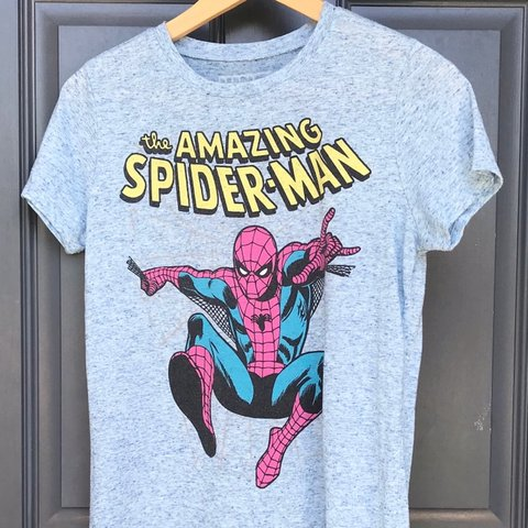 1cec01bb The Amazing Spider-Man blue heathered shirt Size is Woman's - Depop