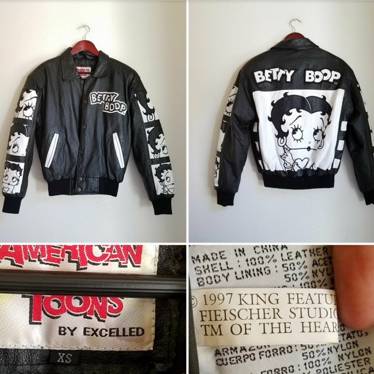 4107c38ab Vintage 90's Betty Boop Pop oversized bomber leather... - Depop