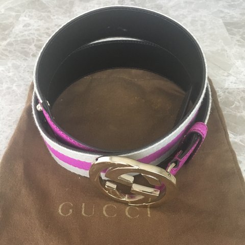 fa4b2af37ff Authentic Gucci belt with monogram double G in magenta. in   - Depop