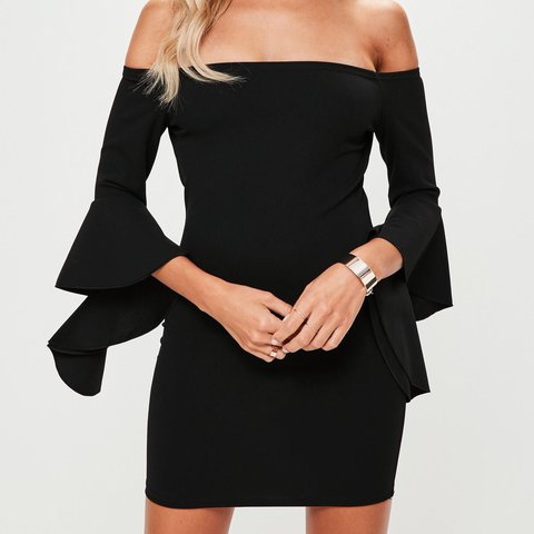 ec5852310778 Missguided petite black bardot dress with frill sleeves. and - Depop