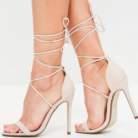 9fa6560868d Missguided nude lace up stiletto heels never worn shoes uk depop jpg  480x480 Missguided heel sandals