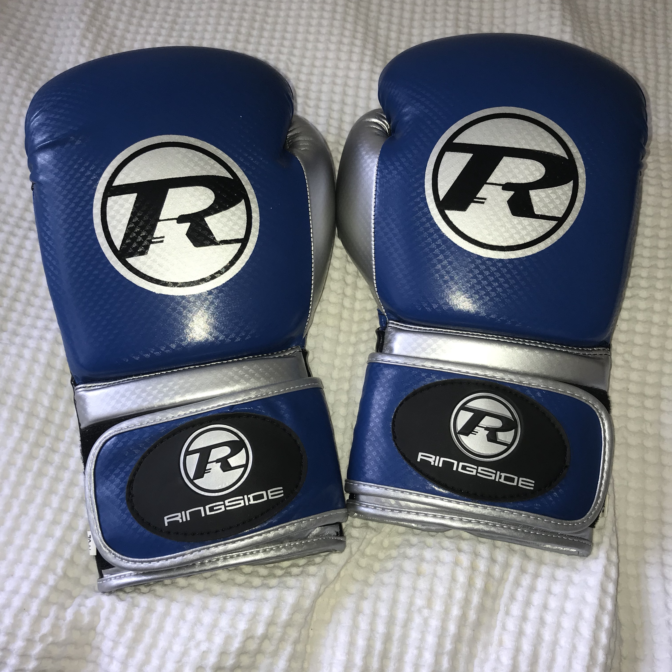 Ringside blue and silver boxing gloves, 14 0Z  Never    - Depop