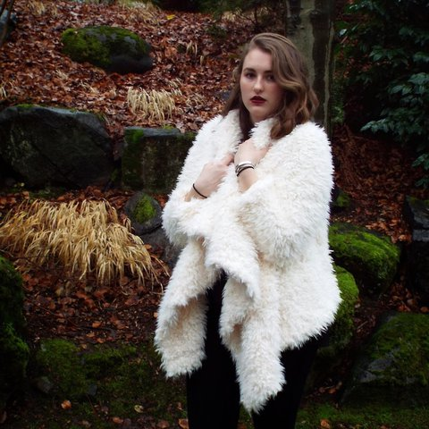 b235708f0824b BLACK FRIDAY SALE White cream shaggy faux fur coat from 21. - Depop