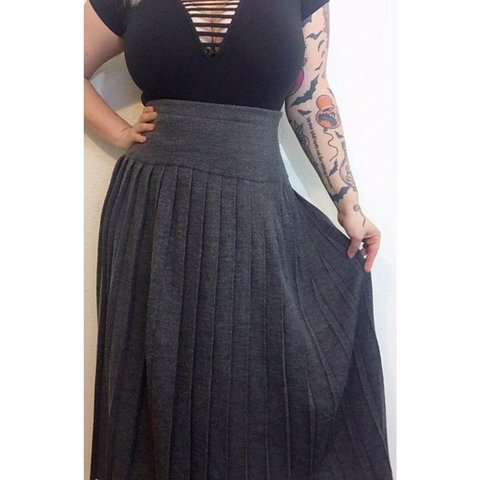 a94c07ea4f @creepycurvyvintage. 5 months ago. Battle Creek, United States. Pleated  wool skirt! Best fit's L/XL. Very stretchy.