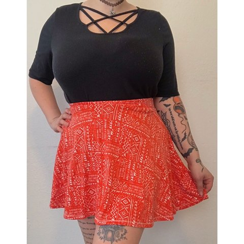 7c490d6441 @creepycurvyvintage. in 23 hours. Battle Creek, United States. Red boho  skater skirt! Best fit's L/XL. Stretchy. Will take measurements ...