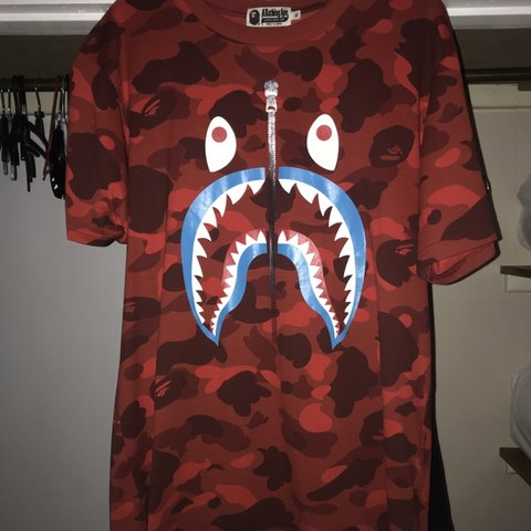 a08c73bc @harrisoncolee. 4 months ago. Radstock, United Kingdom. BAPE GLITTER SHARK  TEE CAMO RED