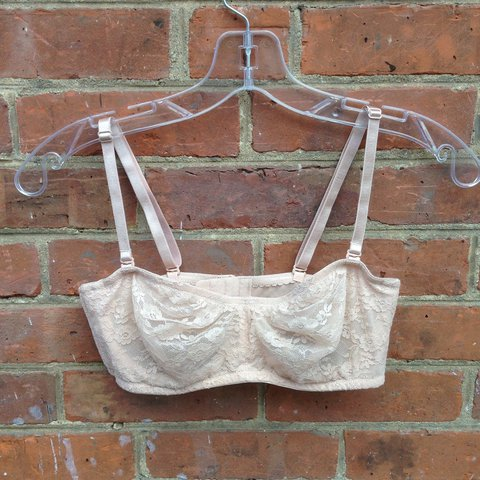 1053d621d8 34B off white pinkish lace sheer bra strapless or with they - Depop