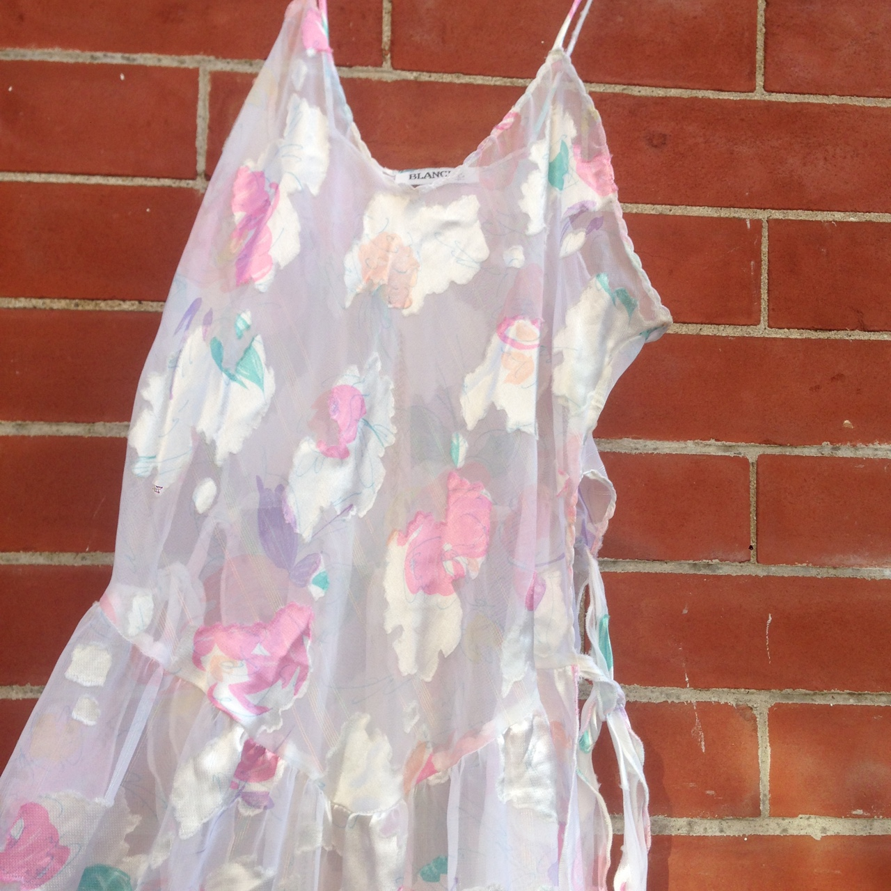 90s silky translucent dress cloudy pattern with    - Depop