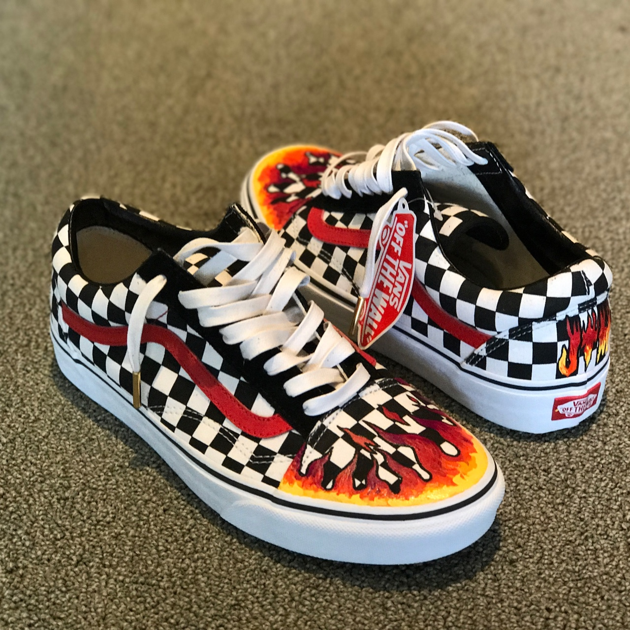 c69f1a0e780a5 Custom Checkerboard Vans with hand painted flames .... - Depop