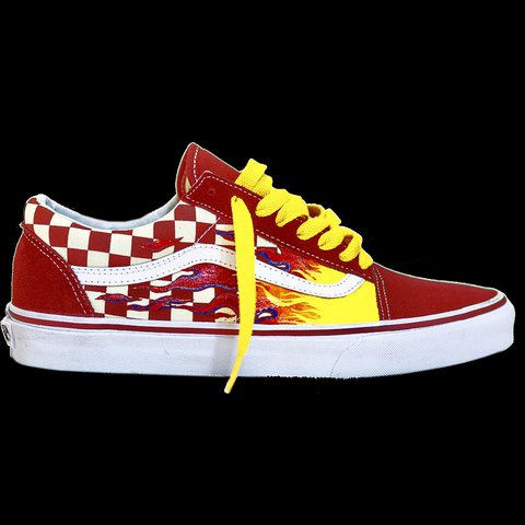 24f6763f0a Red Old Skool Vans w. Checkerboard panel   Hand Painted - Depop