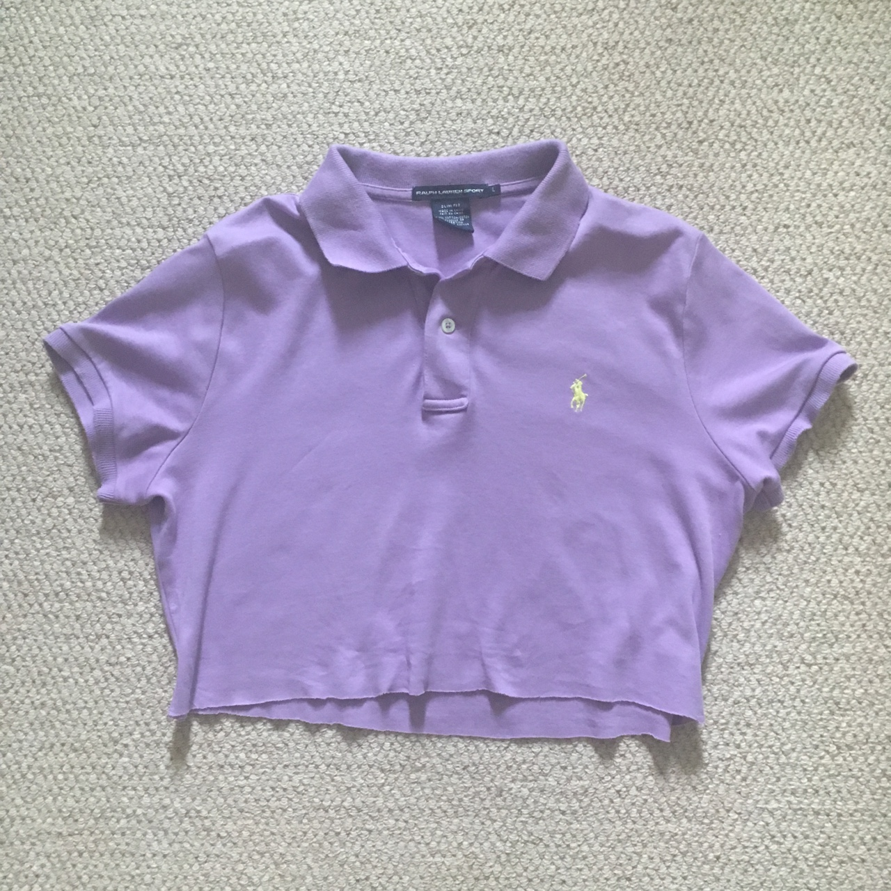 Really Cute Cropped Lilac Ralph Lauren Polo Top by Depop