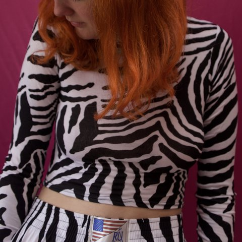 d4caf654e4a @bigmacaronilove. last year. Falmouth, United Kingdom. Zebra print long  sleeve crop top